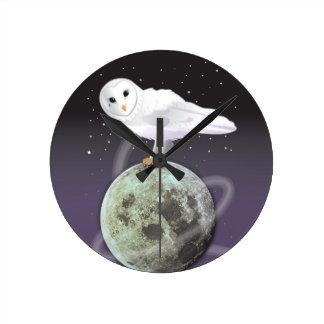 Snowy owl in the moonlight wallclock