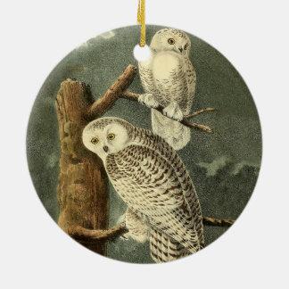 Snowy Owl John James Audubon Vintage Illustration Ceramic Ornament