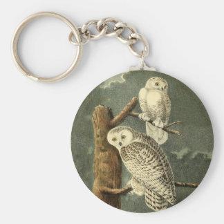 Snowy Owl John James Audubon Vintage Illustration Keychain