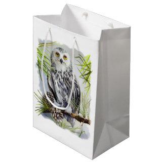 Snowy owl medium gift bag