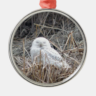 snowy owl metal ornament
