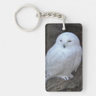 Snowy Owl on a Log Keychain