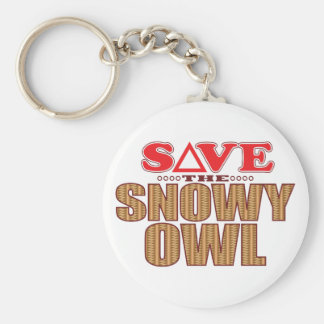 Snowy Owl Save Basic Round Button Keychain