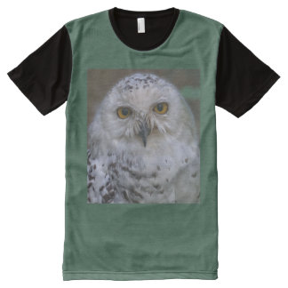 Snowy Owl, Schnee-Eule, All-Over Printed Panel All-Over-Print T-Shirt