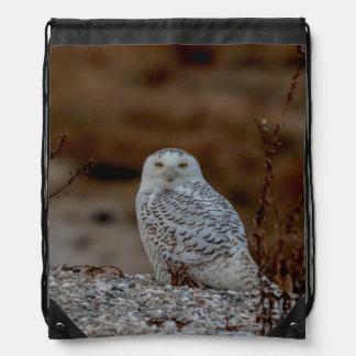 Snowy owl sitting on a rock drawstring bag