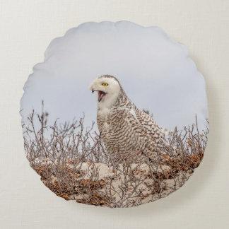 Snowy owl sitting on the beach round pillow