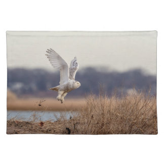 Snowy owl taking off placemat