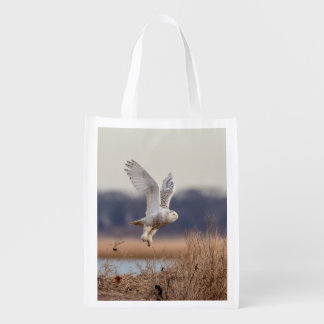 Snowy owl taking off reusable grocery bag
