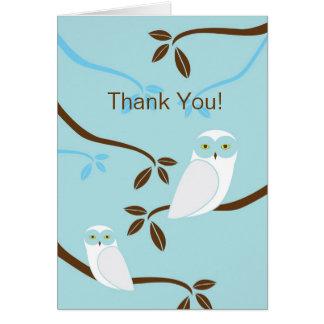 Snowy Owl Thank You Card - Blue