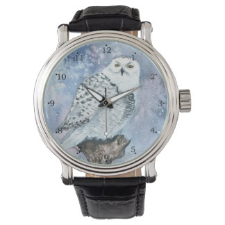 Snowy Owl Wildlife Art in Watercolor Watch