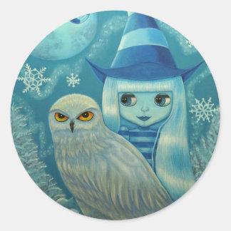 Snowy Owl Witch Sticker