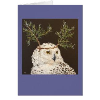 snowy owl with cedar branch hat card