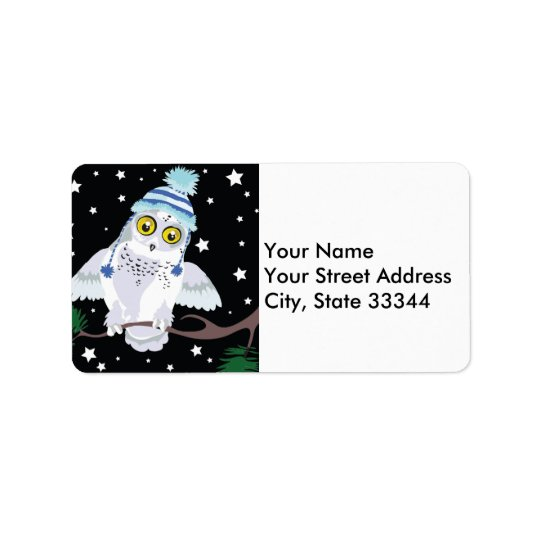 Snowy Owl with Hat~address labels