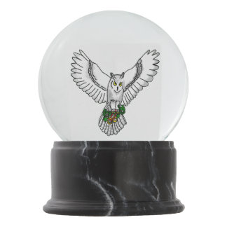 Snowy owl with Wedding Rings Snow Globe