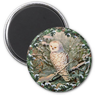 SNOWY OWL & WREATH by SHARON SHARPE Magnet