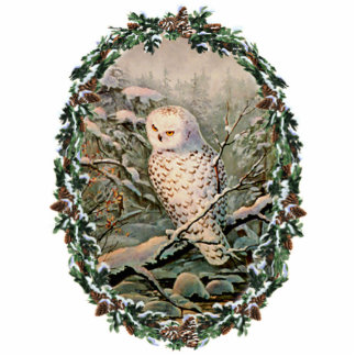 SNOWY OWL & WREATH by SHARON SHARPE Photo Sculpture Ornament