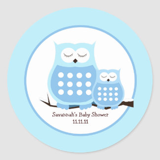 Snowy Owls (Blue) Favor Stickers 3-inch