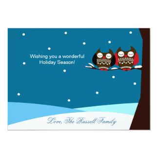 Snowy Owls Snow Holiday Christmas Card Invitations