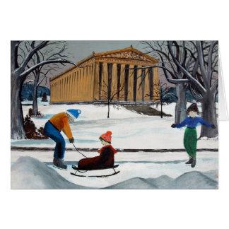 Snowy Parthenon Nashville Christmas Card