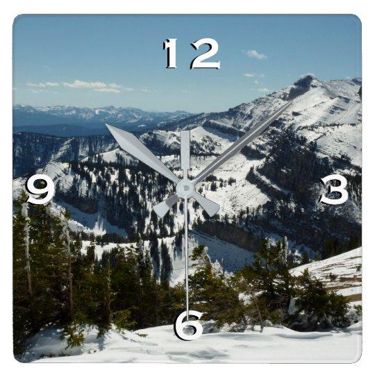Snowy Peaks of Grand Teton Mountains II Photo Clock