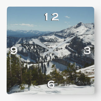 Snowy Peaks of Grand Teton Mountains II Photo Square Wall Clock