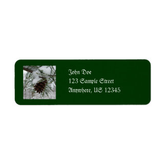 Snowy Pine Branch Winter Nature Photography Return Address Label
