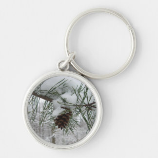 Snowy Pine Branch Winter Nature Photography Silver-Colored Round Keychain