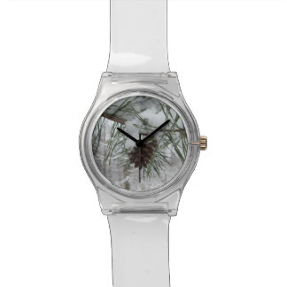 Snowy Pine Branch Winter Nature Photography Wristwatch