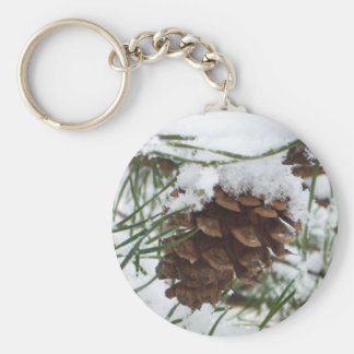 Snowy Pine Cone I Winter Nature Photography Basic Round Button Keychain