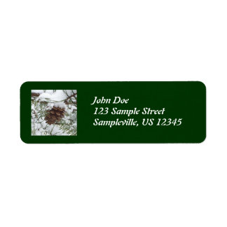 Snowy Pine Cone I Winter Nature Photography Return Address Label