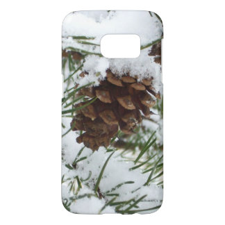 Snowy Pine Cone I Winter Nature Photography Samsung Galaxy S7 Case