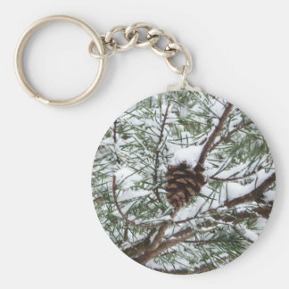 Snowy Pine Cone II Winter Nature Photography Basic Round Button Keychain
