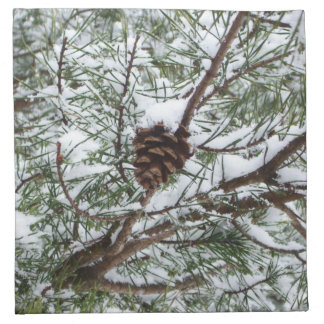 Snowy Pine Cone II Winter Nature Photography Napkin