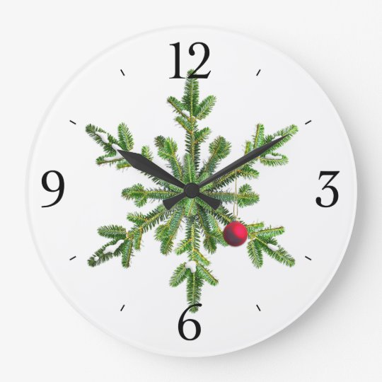 Snowy Pine Snowflake Christmas Clocks