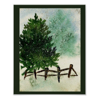 Snowy Pine Tree Poster