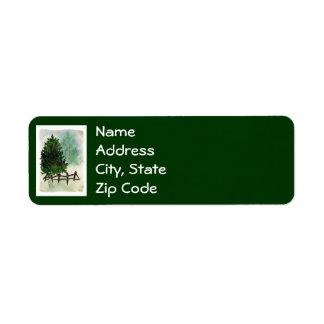 Snowy Pine Tree Return Address Labels