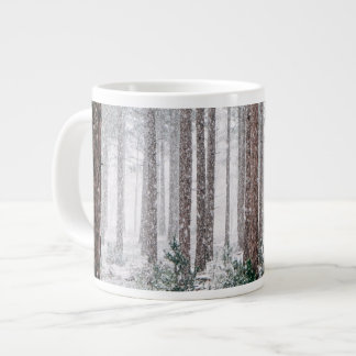 Snowy Pine trees Large Coffee Mug