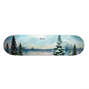 Snowy pine trees near a lake skateboard