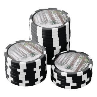 Snowy Pine trees Poker Chips Set