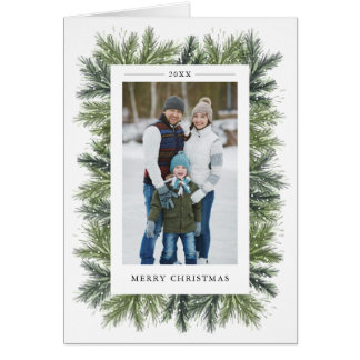 Snowy Pines Christmas Photo Greeting Card