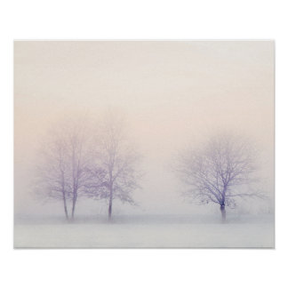 Snowy Pink and White Winter Landscape Poster