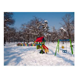 Snowy Playground Postcard