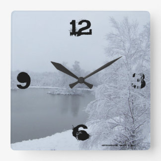 Snowy pond clock