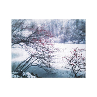 Snowy Pond in Central Park Canvas Print