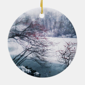Snowy Pond in Central Park Round Ceramic Ornament