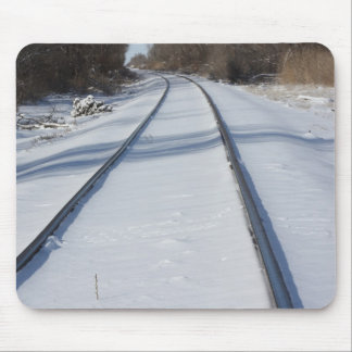 Snowy Railroad Track Mousepad