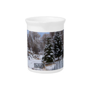 Snowy Ranch House Pitcher