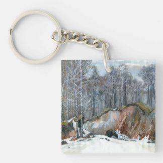 Snowy ravine keychain