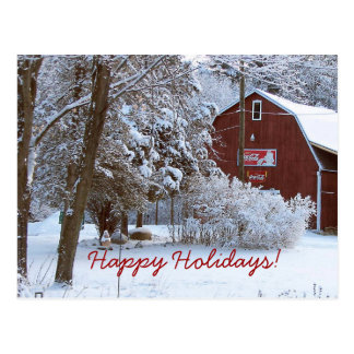 Snowy Red Barn Holiday Post Card