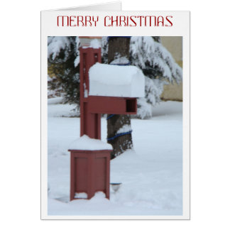 Snowy Red Mailbox, Christmas Card